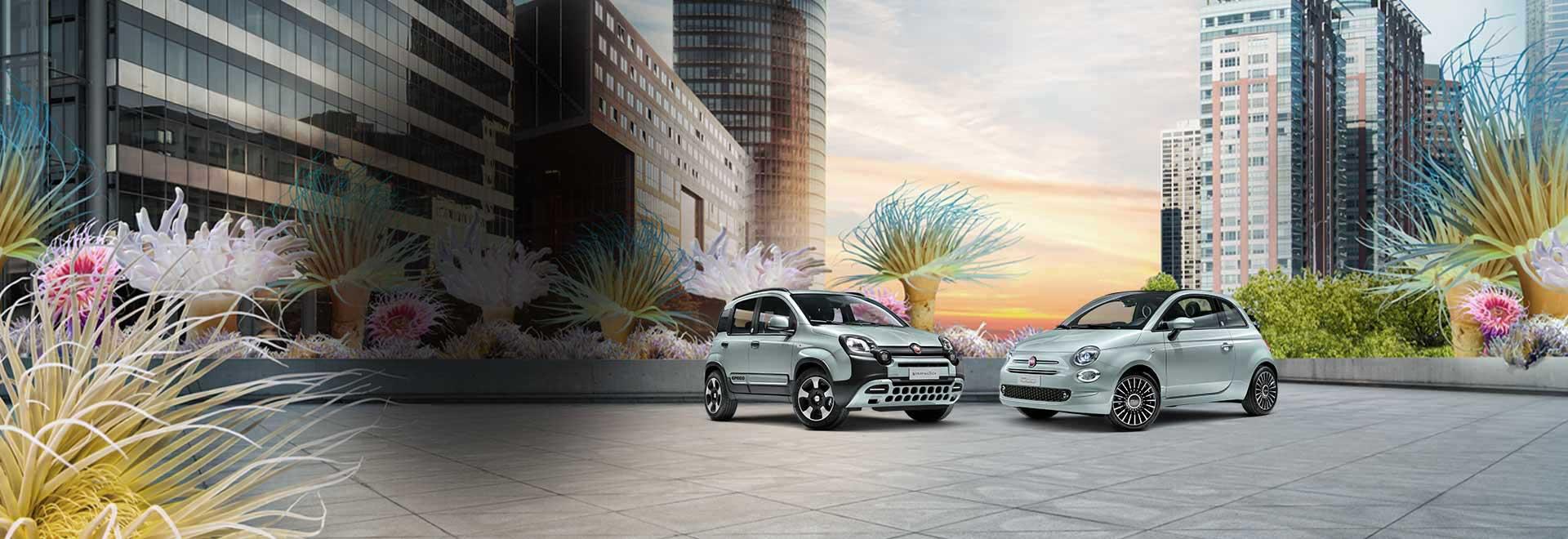 Der neue Fiat 500 und der Fiat Panda Hybrid