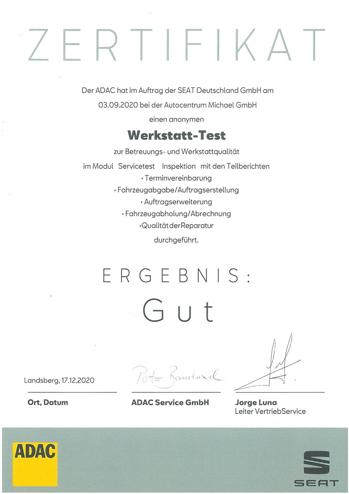 Urkunde Der Seat Werkstatttest 2020